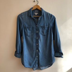 Merona medium wash chambray button up shirt